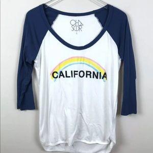 Chaser California Rainbow Raglan Tee